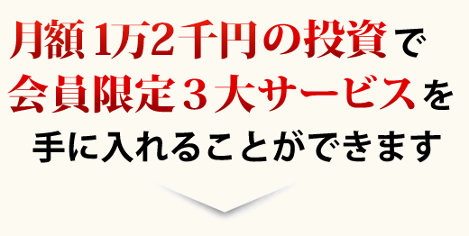 月額1万円の投資で会員限定3大サービスを手に入れることができます
