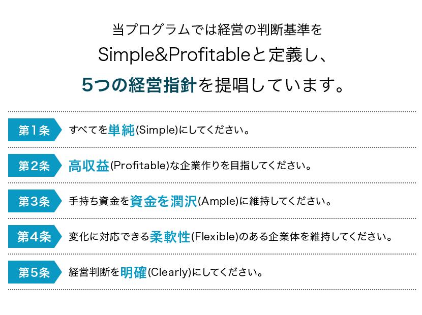 判断基準を5つの経営指針を提唱しています。